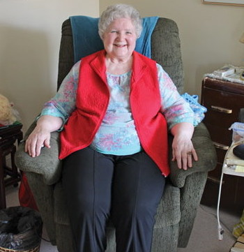 June McFadden in the comfort of her room at the William Booth Special Care Home
